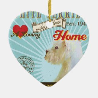 愛情のある白いテリアは私達の家の家を作ります 陶器製ハート型オーナメント