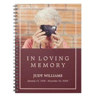 愛情のある記憶あずき色の写真の葬式のゲストブック ノートブック