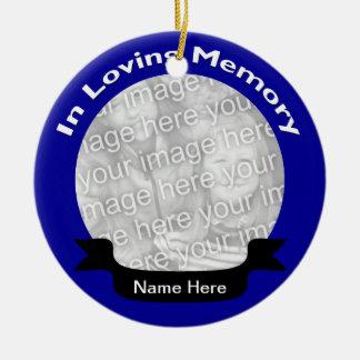 愛情のある記憶写真のオーナメント-青 セラミックオーナメント