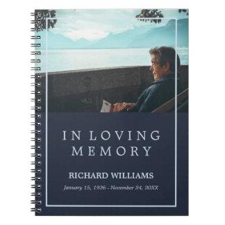 愛情のある記憶濃紺の写真の葬式のゲストブック ノートブック