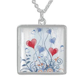 愛情のある青および赤いハートの銀製のネックレス スターリングシルバーネックレス