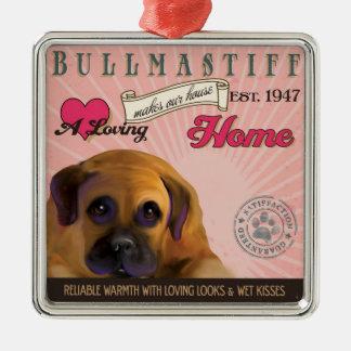 愛情のあるBullmastiffは私達の家の家を作ります メタルオーナメント