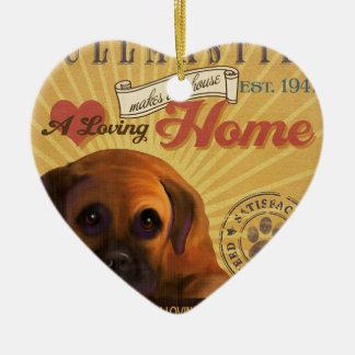 愛情のあるBullmastiffは私達の家の家を作ります 陶器製ハート型オーナメント