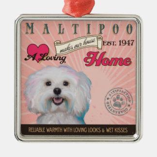 愛情のあるMaltipooは私達の家の家を作ります メタルオーナメント