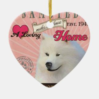 愛情のあるSamoyedは私達の家の家を作ります セラミックオーナメント