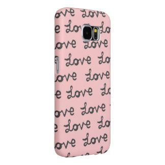 愛手書きのピンクのSamsungの銀河系S6の箱 Samsung Galaxy S6 ケース