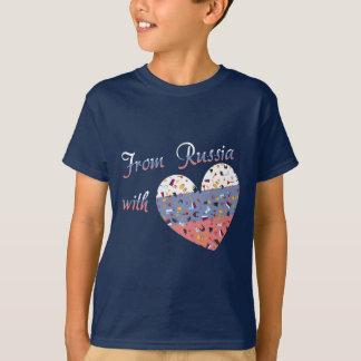 愛文字およびロシア人のハートのロシアから Tシャツ