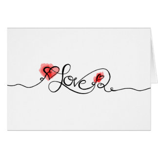 愛書道の水彩画のバレンタインデーの写真 カード