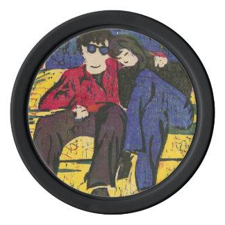 愛木版画のカップルは紫系統の黄色を印刷します ポーカーチップ