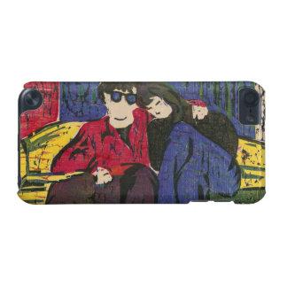 愛木版画のカップルは紫系統の黄色を印刷します iPod TOUCH 5G ケース