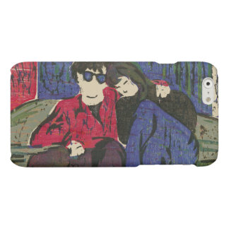 愛木版画のカップルは青緑の赤を印刷します
