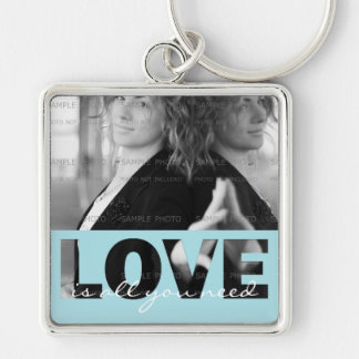 愛正方形の金属の写真Keychain (切り取られる大きい)   キーホルダー