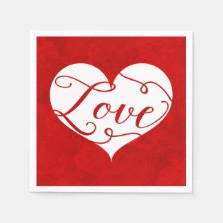 愛水彩画の赤いハートの渦巻のバレンタインデー スタンダードカクテルナプキン