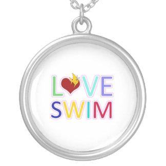愛水泳 シルバープレートネックレス