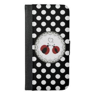 愛水玉模様のかわいく粋でガーリーなてんとう虫 iPhone 6/6S PLUS ウォレットケース
