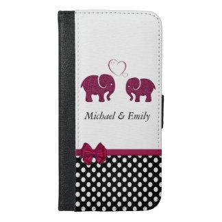 愛水玉模様のモノグラムのかわいくガーリーなelphants iPhone 6/6s plus ウォレットケース