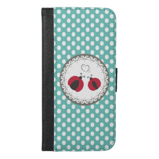 愛水玉模様の真新しくかわいく粋でガーリーなてんとう虫 iPhone 6/6S PLUS ウォレットケース