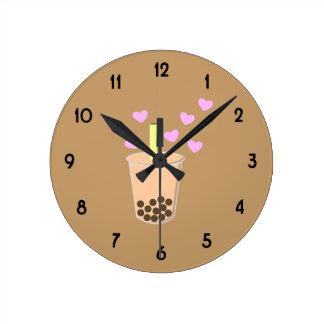 愛泡茶 ラウンド壁時計