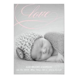愛渦巻の赤ん坊の誕生の発表の写真カード カード