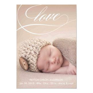 愛渦巻の赤ん坊の誕生の発表の写真カード 12.7 X 17.8 インビテーションカード