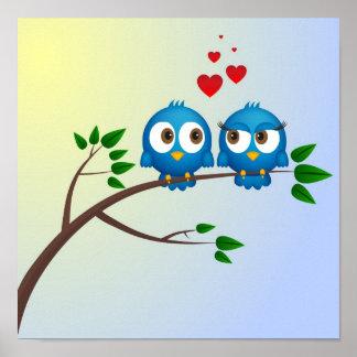 愛漫画のかわいく青い鳥 ポスター