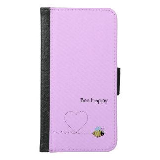 愛漫画のピンクの幸せで前向きな蜂 GALAXY S6 ウォレットケース