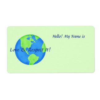 愛点の地球の地球の名札の緑のステッカー ラベル