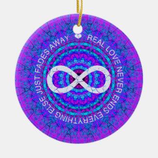 愛無限ファンキーな紫色の曼荼羅 セラミックオーナメント
