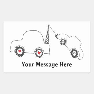 愛牽引カスタムなメッセージのステッカー 長方形シール