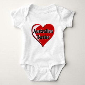 愛犬家のためのオーストラリアンテリアのハート ベビーボディスーツ