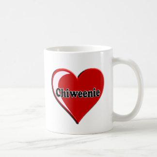 愛犬家のためのハートのChiweenie コーヒーマグカップ
