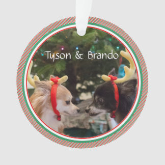 愛犬家の初めてのクリスマスの日付がついた記念品 オーナメント