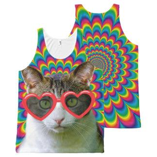 愛猫で熱狂する オールオーバープリントタンクトップ