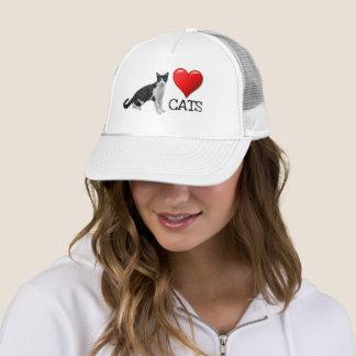 愛猫のタキシード猫のトラック運転手の帽子 キャップ