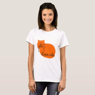 愛猫の漫画猫のオレンジのTシャツ Tシャツ
