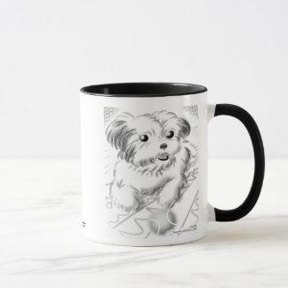 愛玩用小犬の風刺漫画のマグのテニス マグカップ