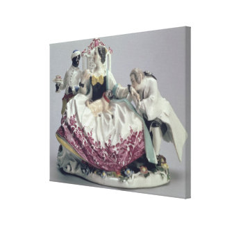 愛玩用小犬、人および黒い使用人1737年を持つ女性 キャンバスプリント