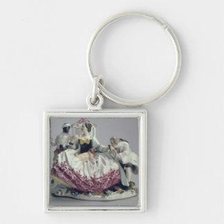 愛玩用小犬、人および黒い使用人1737年を持つ女性 キーホルダー