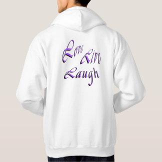 愛生きている笑いのロゴ、メンズ白のフード付きスウェットシャツ パーカ