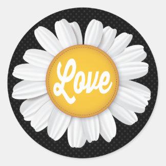 愛白いデイジーの花の黒の花柄のステッカー ラウンドシール