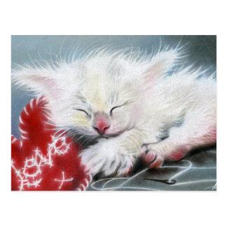 愛白い子ネコのハートの郵便はがきとステッチされる ポストカード