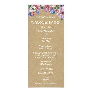愛結婚式プログラムプログラム・カードの花柄 10.2 X 23.5 インビテーションカード