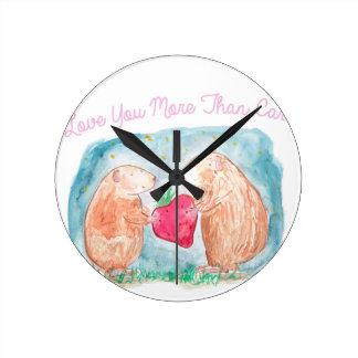 愛絵画のにんじんのモルモットより多く ラウンド壁時計