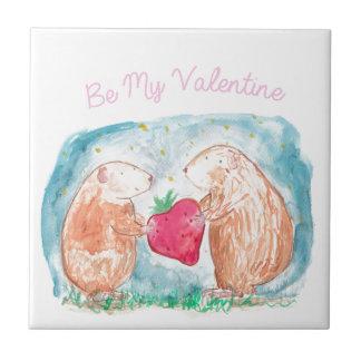 愛絵画の私のバレンタインのモルモットがあって下さい タイル