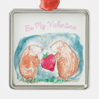 愛絵画の私のバレンタインのモルモットがあって下さい メタルオーナメント