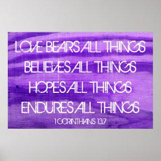 愛聖書の詩1のCorinthiansの13:7 ポスター