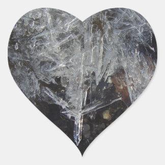 愛自然のステッカー-早い春の氷 ハートシール