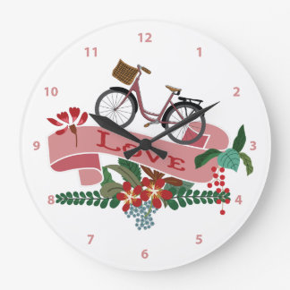 愛自転車の花柄の旗 ラージ壁時計