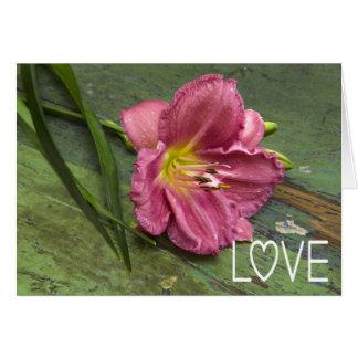 愛花のピンクユリの花のブランクNotecard カード