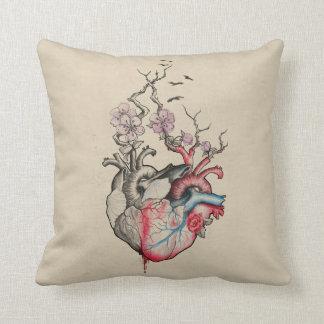 愛芸術は花と解剖ハートを併合しました クッション